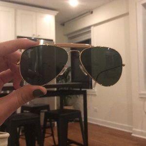 Gold aviator Ray-ban - shiny green lens